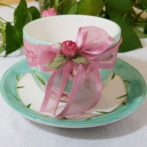 Handpainted Tea Cup & Plate, The Rose Collection